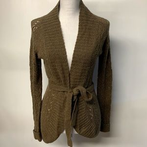 LOFT Brown Gold Tie Front Wool Knit Cardigan
